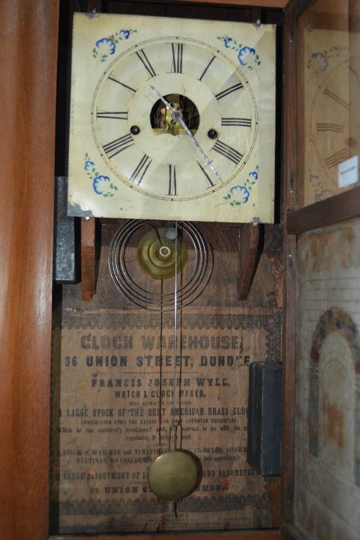 antique american wall clock mahogany cased