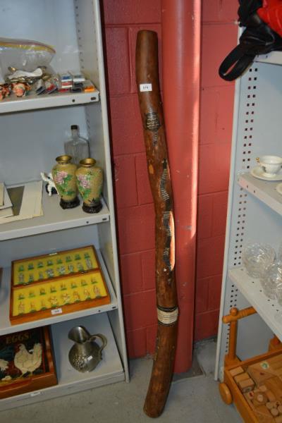 Large painted hardwood didgeridoo,