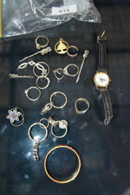 Bag of assorted costume jewellery incl. sterling