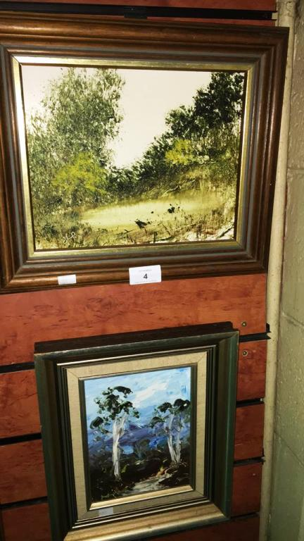 Jim Crofts, 2 works, rural landscapes, each an oil on board, both signed, 19.5 x 24.5 cm and 19 x 14 cm