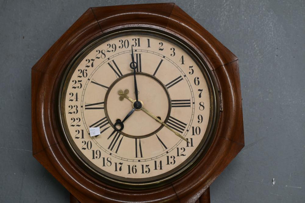 Ansonia Regulator A Calendar wall clock, measures 81cm H x 44cm W