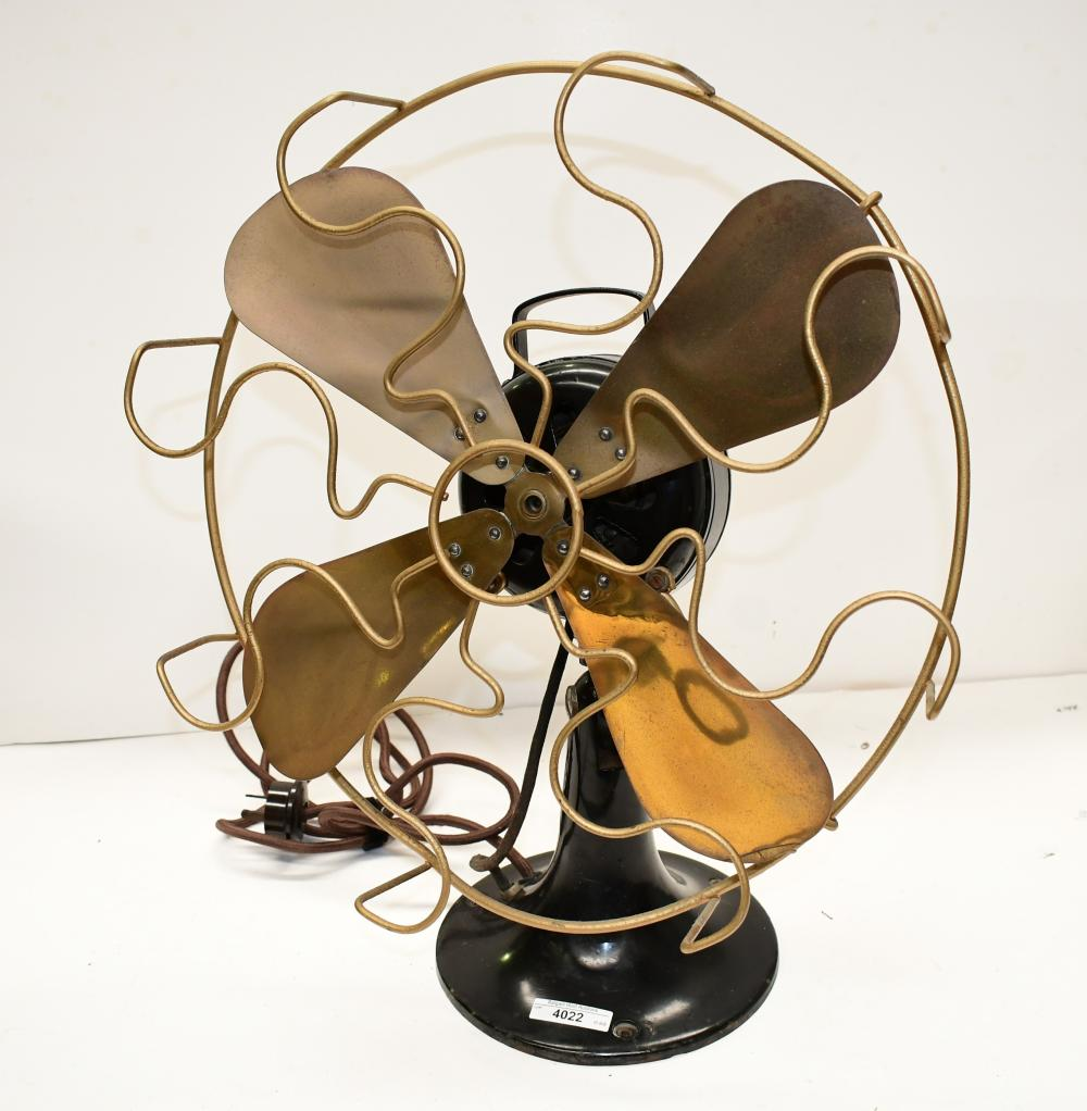 Vintage cast metal desk fan, 43cm in dia x 52cm H
