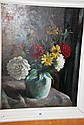 R.L. Young, oil on board, still life of flowers in