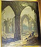 Antique oil on canvas, unsigned, ruined cathedral