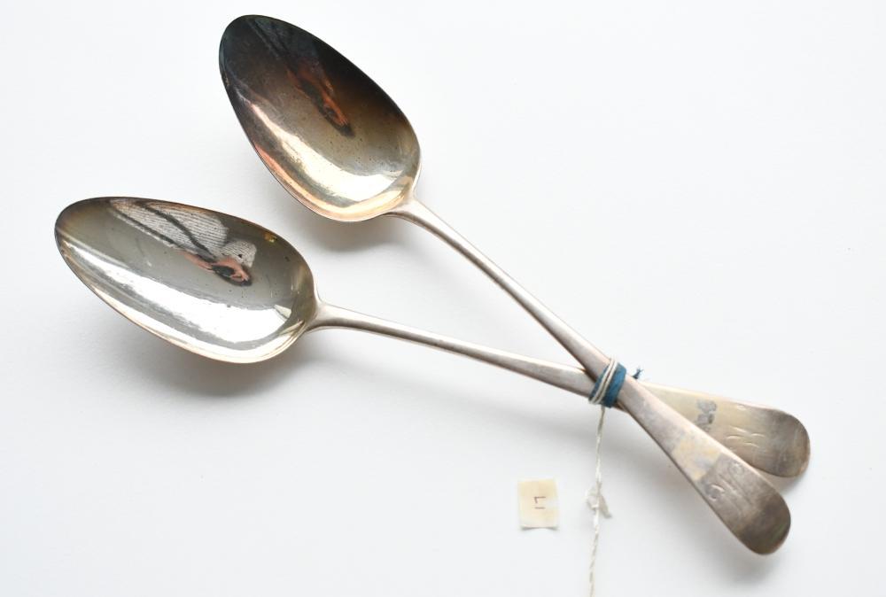Pair Georgian sterling silver table spoons, 21.20 cm. (8.35 in.)