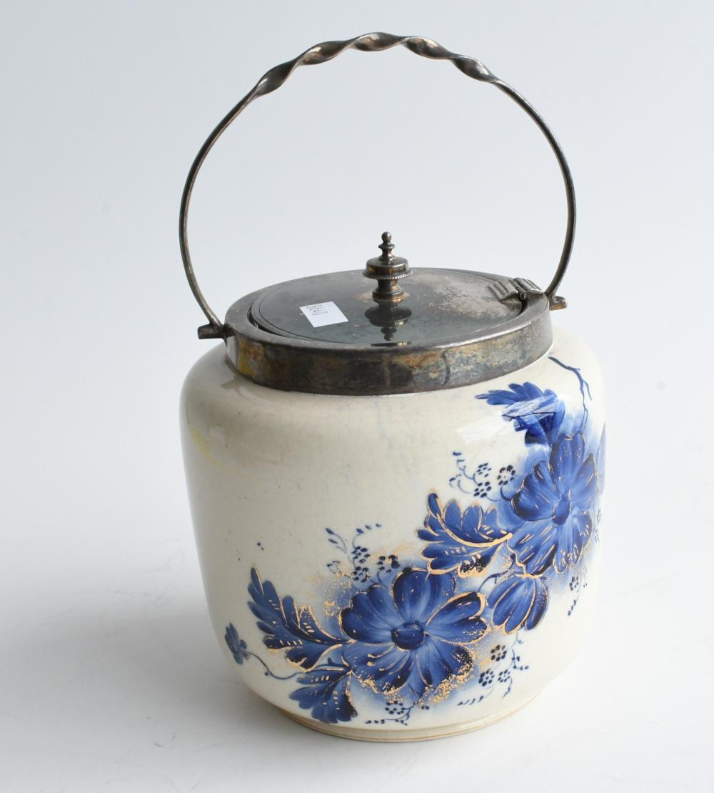 Victorian blue and white biscuit barrel, 21cm H with handle, 14cm in dia