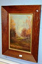 Antique oil painting on canvas - Autumnal forest