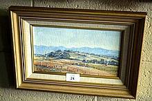 K. Knight oil on board, rural landscape, 14 x 24cm