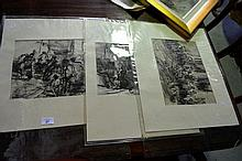 3 x A. Mari pen and ink washes - market scenes 23
