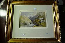 H. McDonald watercolour, river scene, framed