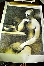 Artist unknown, 2 copper plate etchings, pencil