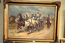 Janos Viski (Hungary), oil on canvas, scene of