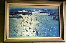 Robert Lovett oil on board, Sydney Harbour scene