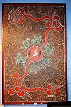Aboriginal dot painting on canvas, showing