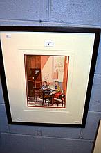 Judith Capps watercolour, interior bar scene,