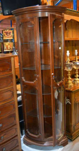 Mahogany Bow Fronted Corner Display Cabinet