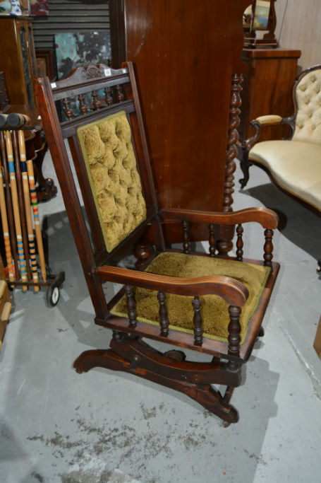 Antique Dexter Style Platform Rocking Armchair