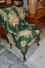 Pair of Georgian style wing back armchairs,