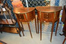Pair French style demi-lune occasional tables,