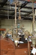 Vintage French patinated brass hanging light,