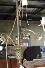 Vintage French brass hanging light fitting,