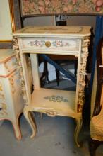 French style painted tall side table,