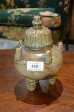 Unusual Chinese Sung style lidded pot,