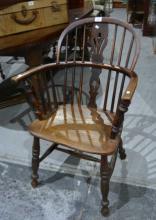 Antique beech and elm Windsor armchair,