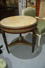 Grand French circular centre table,