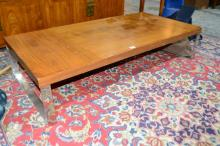 Modern coffee table, teak veneer top