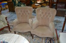 Pair of armchairs, light brown velour upholstery,