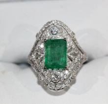 18ct white gold emerald and diamond ring,