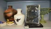 2 pottery vases, metal fruit bowl,