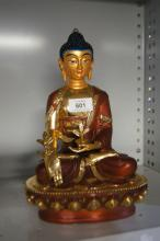 Hand painted cast metal Buddha