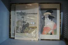 3 Japanese woodblock style prints,
