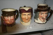 3 x large Royal Doulton character jugs -