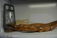 Vintage hurricane lantern, hand carved alligator