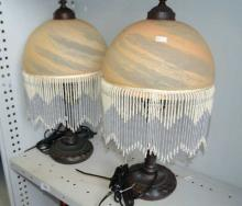 2 Art Deco inspired bedside table lamps,