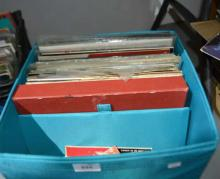 Blue crate with qty of 45's and LP's