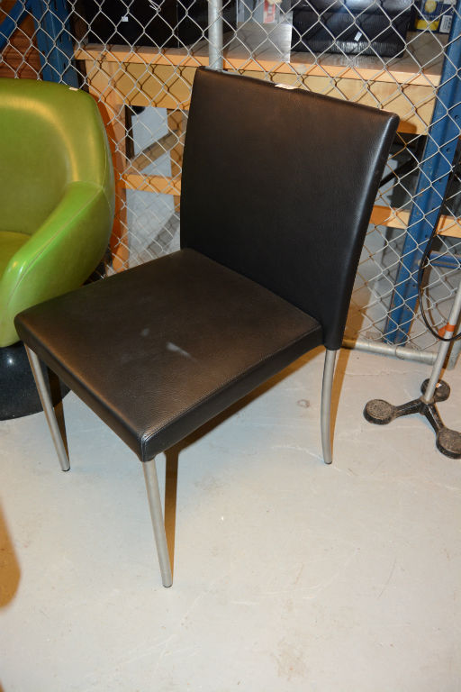 Walter Knoll Side Chair Black Leather Upholstered