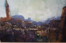 Chris Pekel, 'Paris At Dusk', oil on canvas, signed, 39 x 49cm