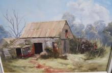 Pat Murphy, 'Empty Vegie Boxes, PItt Town', oil on canvas, laid on board, signed, 45 x 60cm