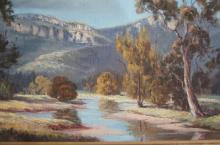 Chris Huber, Australian valley landscape, oil on canvas, mounted on board, signed, 40 x 76cm