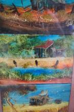Nick Petali, series of 3 paintings, each showing a bush shack in an outback landscape, oil on canvas board, each signed, 10 x 15cm, artists biography & Info verso