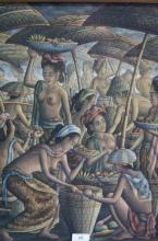 I Wayan Tohdjiwa, 'Balinese Market Scene', oil on canvas on board, signed W.J. Tohdjiwa Peliatan, 49 x 40cm