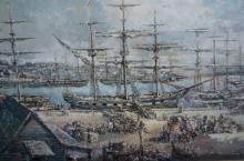 Aubrey Eden Stapleton, old harbour scene with large number of masted frigates being unloaded by oxen drawn carts etc, oil on board, signed, 51 x 81cm