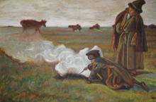 Adam, Russian Steppes scene with 2 herdsmen by a fire with cattle backdrop, oil on canvas, signed & dated 1979, 79 x 100cm