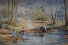 Toni Davis, 'Cooking The Catch', oil on canvas board, signed, 39 x 75cm