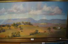 Terry Cook, 'The Blue Barrier', oil on canvas, signed, dated 1976, 49 x 100cm