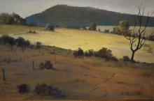 Hal Paddle, 'Sunlit Field', oil on canvas board, signed & dated 1977, 40 x 50cm